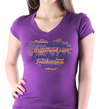 Essential Oils Heart Shaped T-Shirt Lavender.