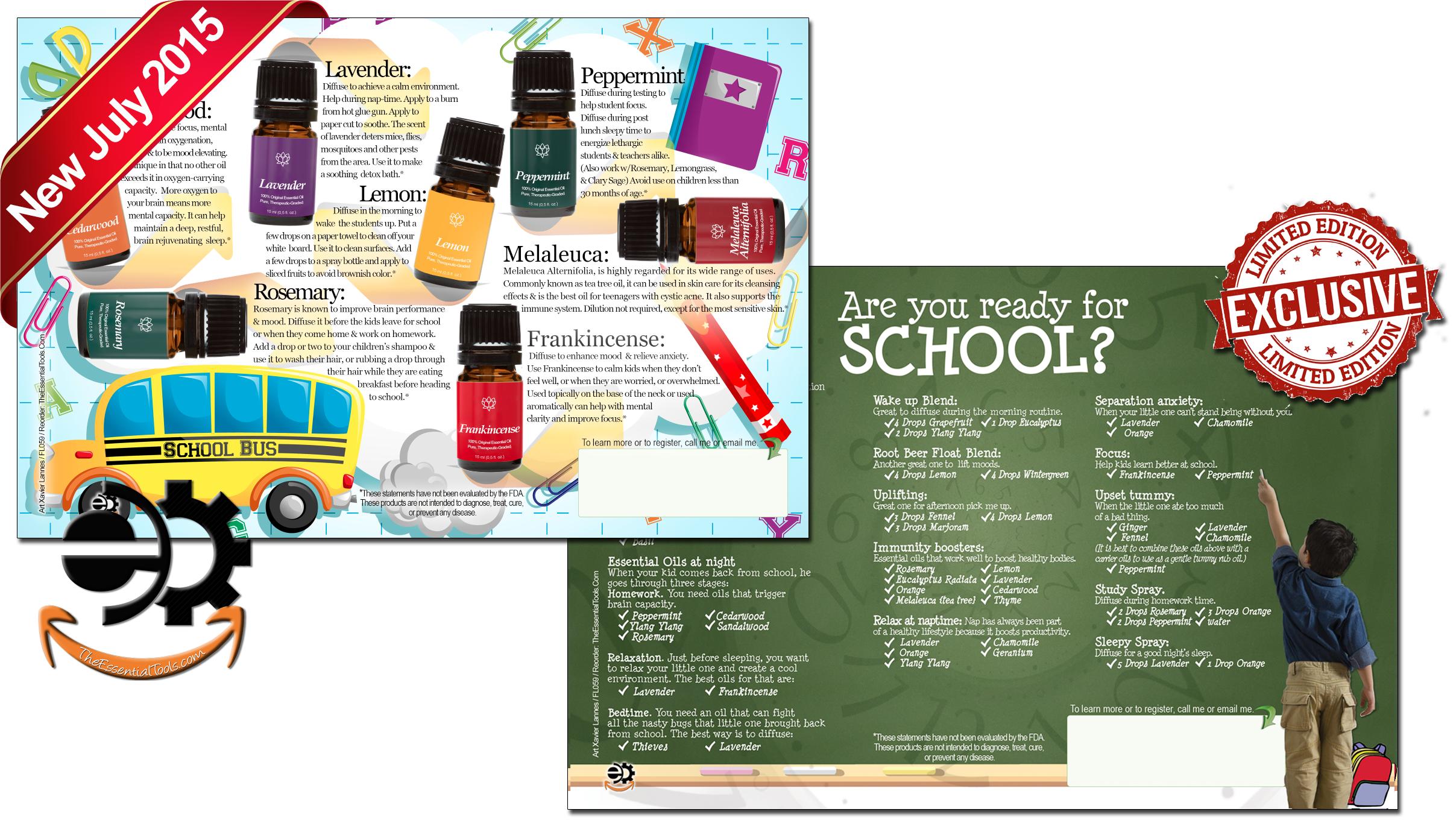 the essential tools essential oils flyers marketing material the 10 best essential oils for back to school click on the image