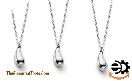 Drop of Oil necklace  Plated Silver