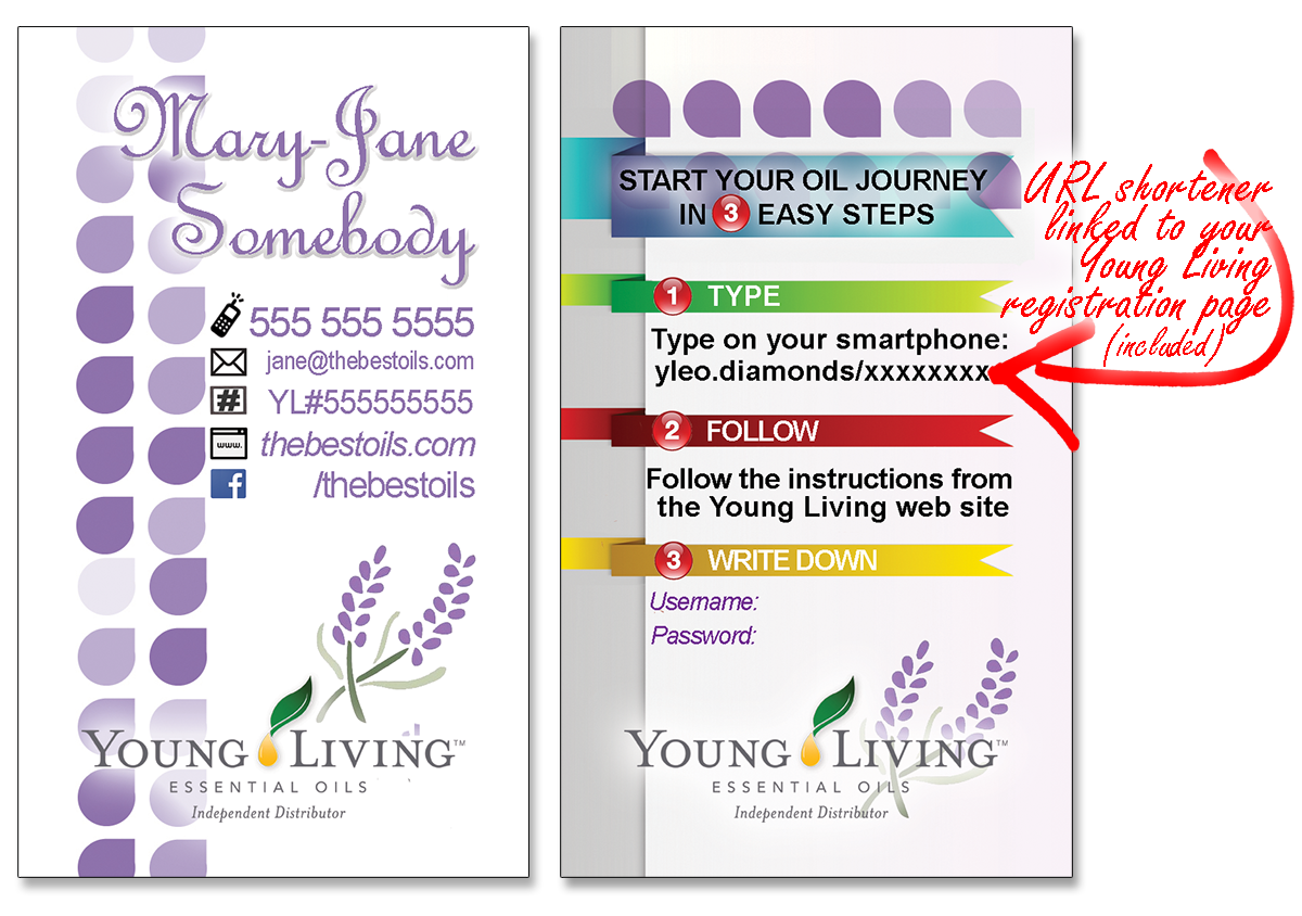 YL Essential Oils Business Cards and URL Link Shortener