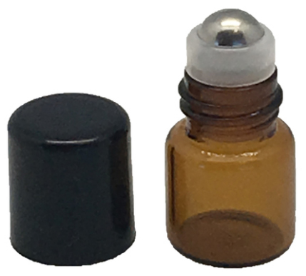 1 ML AMBER GLASS VIALS WITH METAL ROLL-ONS AND BLACK CAPS