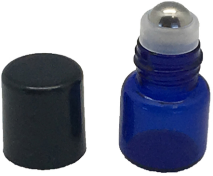 1 ML BLUE GLASS VIALS WITH METAL ROLL-ONS AND BLACK CAPS