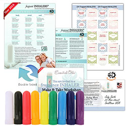 Make-&-Take Workshop Kit is a super starting point for a successful basic class. The fragrant inhaler blends are a great way for new users to experience essential oils. They are simple to make and inexpensive to use. Even experienced users will enjoying discovering new blends and applications for familiar oils. The kit includes all the paper materials you need to host a workshop for 10 people and make 12 aroma inhaler blends.