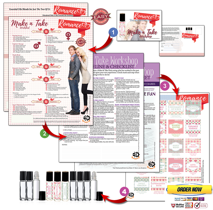 essential tools marketing material for essential oils distributors Make and Take Romance Bundle