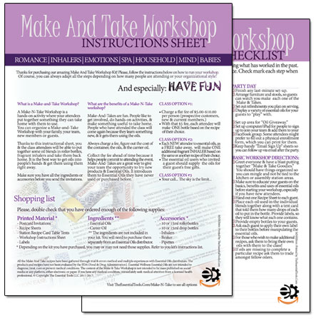aromatherapy mental clarity make and take DIY workshop for essential oils instruction sheet