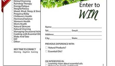 Information form for essential oils party