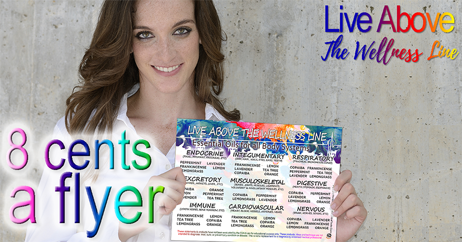 Image of a woman holding the essential oil flyer live above the wellness line