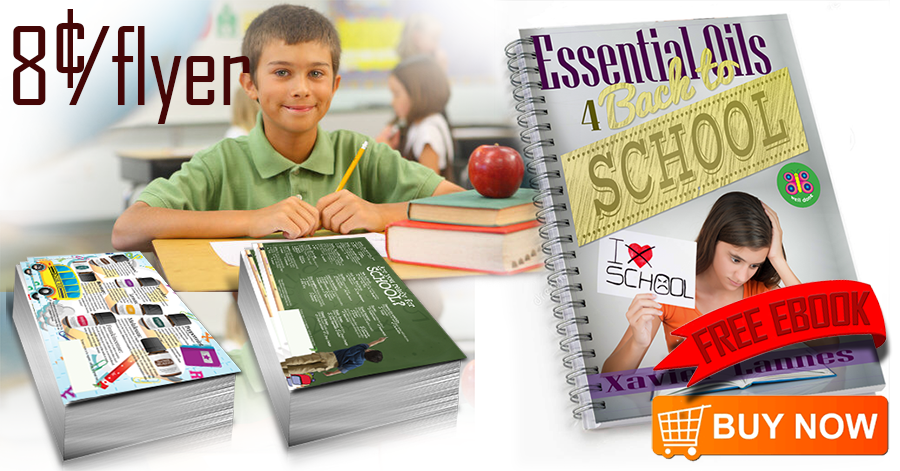 Image of a kid holding the essential oil flyer FL059 Essential Oils for Back To School