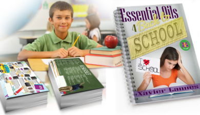 Image of kid with essential oils for back to school