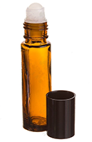 1/3 oz. Roll-on Vial: Amber Glass Bottle with Black Cap