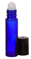 Roll-on Vial: Blue Glass Roller Bottle with Plastic Ball and Black Cap