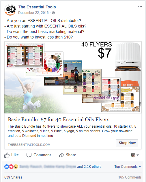 Image of a Facebook ad with 2200 likes