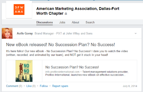 Join a Google+ or LinkedIn community and share posts that promote your ebook.
