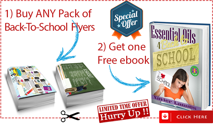 free book with any pack of essential oils for back to school flyers