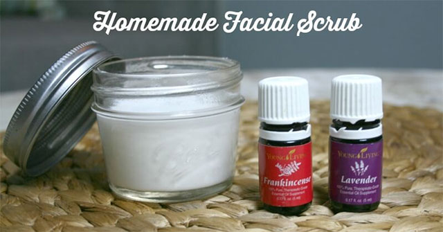 facial scrub with essential oils