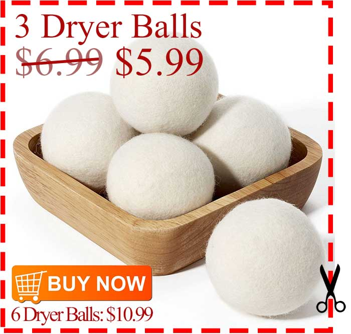 Was $6.99, now $5.99 One Set of 3 Dryer Balls 100% Pure Wool