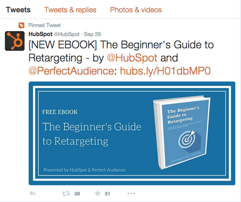 Pin your ebook to your Twitter feed so it's the first tweet people see.
