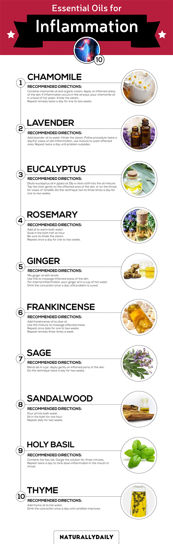 Essential Oils For Inflammation is an infographic frm https://naturallydaily.com/essential-oils-for-inflammation/